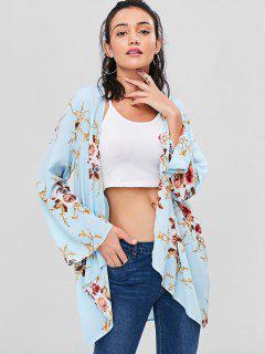 Blusa Larga Abierta Floral - Azul Claro M