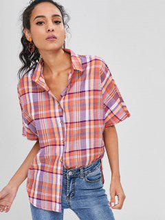 Button Down Plaid Shirt - Multi L