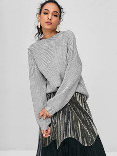 Lantern Sleeves Ribbed Sweater - Gray