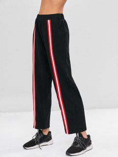 High Waist Striped Patched Pants - Black L