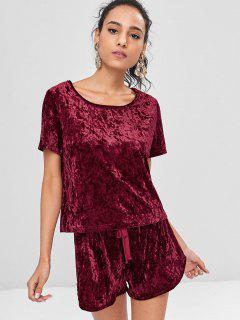 Crushed Velvet Bowknot Shorts Set - Red Wine M