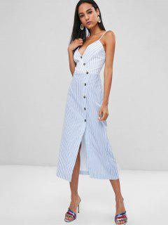 Striped Button Up Cami Dress - Pastel Blue M