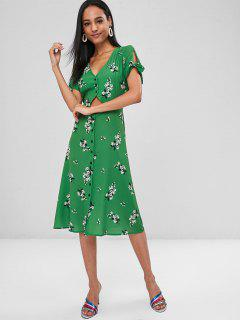 Cut Out Buttoned Floral Dress - Green M