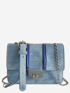 Chic Denim Flapped Metal Chain Bag - Light Blue Horizontal