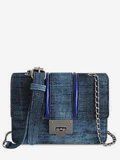 Chic Denim Flapped Metal Chain Bag - Deep Blue Horizontal