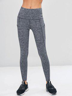High Waisted Pocket Heather Sports Leggings - Battleship Gray S