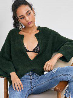 Niedrige Schlitz Textured Fuzzy Pullover - Dunkles Waldgrün