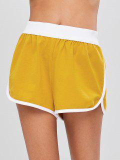 Mid Waist Piping Shorts - Golden Brown S
