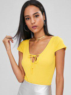 Cut Out Cap Sleeves Bodysuit - Yellow S