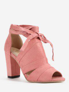 Lace Up Ankle Strap Party Peep Toe Sandals - Light Pink 39