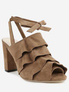 Ankle Strap Chunky Heel Ruffles Peep Toe Sandals - Deep Brown 39