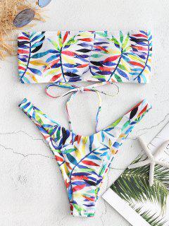 Leaf Print Lace-up Bandeau Bikini Set - White M