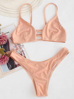Strappy Bralette Bikini Set - Apricot L
