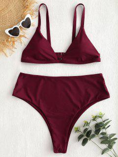 Plus Size Caged High Leg Bikini Set - Red Wine 2x