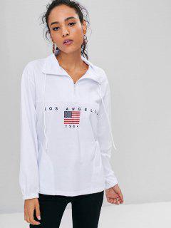 Half Zip American Flag Sweatshirt - White M