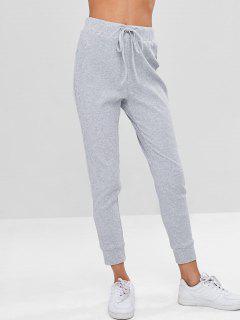 ZAFUL Drawstring Ribbed Sweatpants - Light Gray M