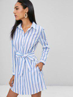 Belted Stripes Shirt Dress - Sky Blue M