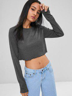 Lettuce Trim Cropped Tee - Gray M