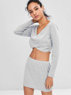 Low Cut Cropped Skirt Set - Gray M