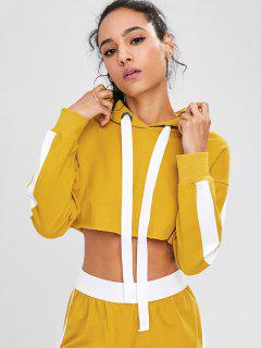 Two Tone Cropped Hoodie - Golden Brown M