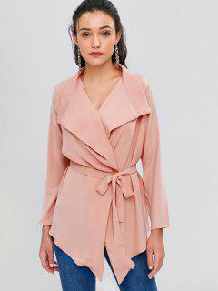 Waterfall Shawl Collar Cropped Trench Coat - Orange Pink S