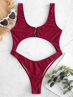 Bralette Zipper Cut Out Swimsuit - Red Wine L