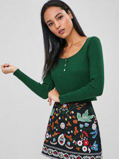 Buttoned Ribbed Scoop Cropped Sweater - Deep Green L