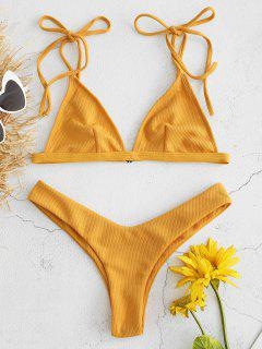 Ribbed Bralette Bikini Set - Bright Yellow L