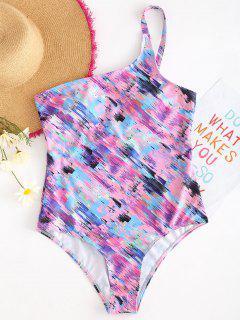 Space Dye One Shoulder Swimsuit - Multi-a L