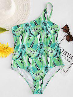 Palm Leaf Schulter Badeanzug - Außeriridisch Grün M