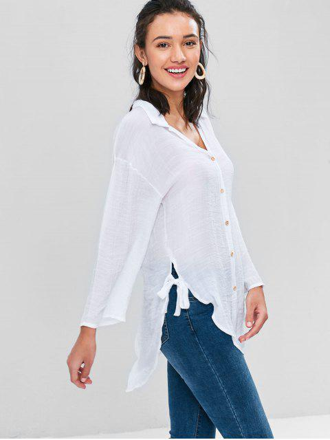 Botón arriba blusa alta baja - Blanco L Mobile