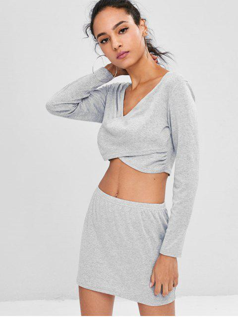 lady Low Cut Cropped Skirt Set - GRAY L Mobile