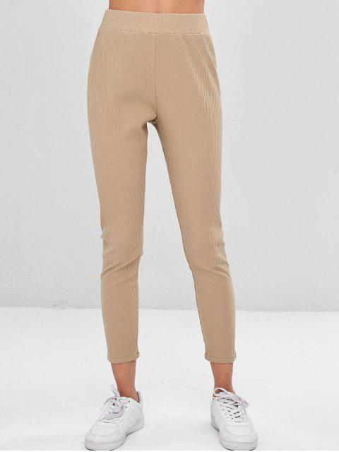 chic Plain Ribbed Pants - TAN L Mobile