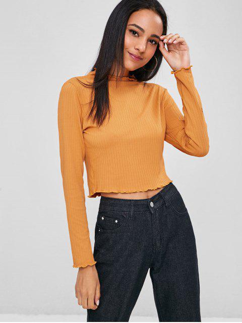 Tee-shirt côtelé avec bordure en laitue - Orange Or L Mobile