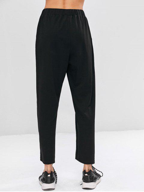 Pantalones rectos a rayas de cintura alta - Negro L Mobile