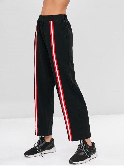outfits High Waist Striped Patched Pants - BLACK L Mobile