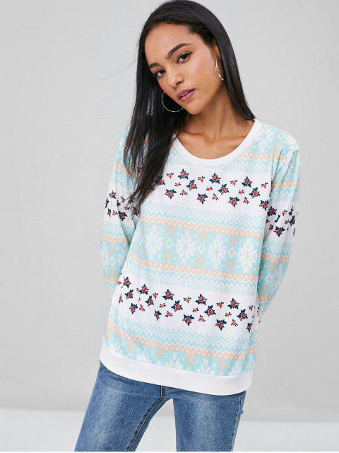latest Zig Zag Floral Sweatshirt - MULTI M Mobile