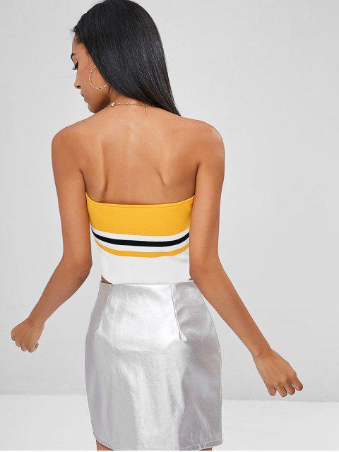 women's Knit Striped Bandeau Tube Crop Top - BEE YELLOW L Mobile