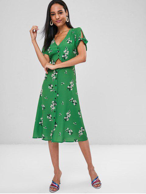 Ausgeschnittenes Knopf Blumen Kleid - Grün S Mobile