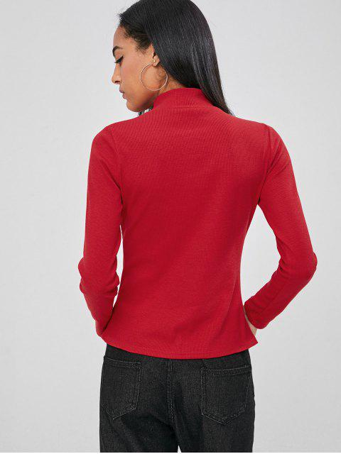 fancy Ribbed Cut Out Top - RED M Mobile