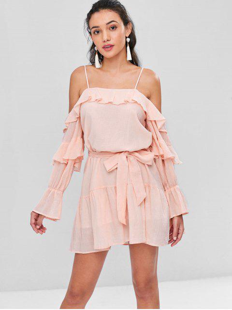 fancy Cold Shoulder Cami Belted Dress - LIGHT PINK XL Mobile