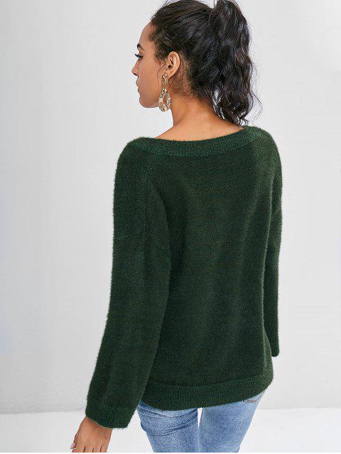 Niedrige Schlitz Textured fuzzy Pullover - Dunkles Waldgrün Eine Größe Mobile