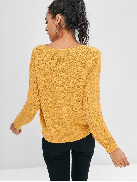 fancy Round Neck Cable Knit Sweater - GOLDEN BROWN ONE SIZE Mobile