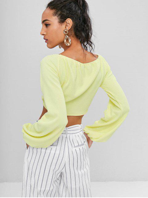 fashion Off Shoulder Twist Front Top - YELLOW L Mobile