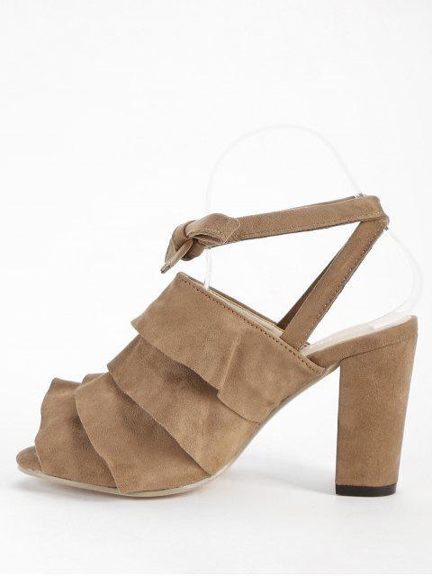 latest Ankle Strap Chunky Heel Ruffles Peep Toe Sandals - DEEP BROWN 38 Mobile