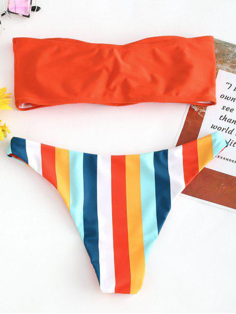 fashion Bandeau Rainbow Striped Bikini Set - BRIGHT ORANGE S Mobile