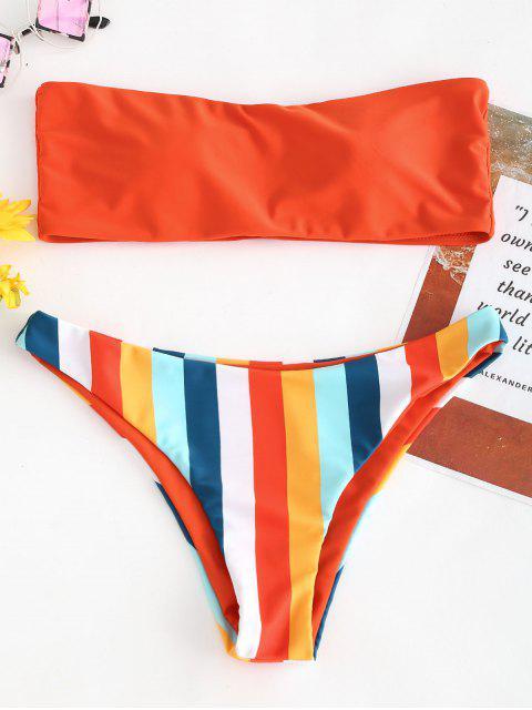 Bikini Bandeau en Ensemble à Rayures D'arc-en-ciel - Orange vif S Mobile