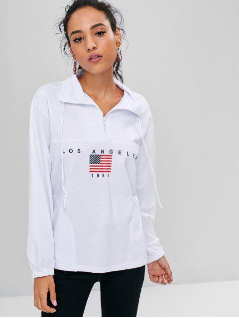 fancy Half Zip American Flag Sweatshirt - WHITE L Mobile