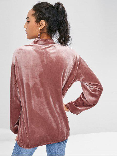 affordable Two Tone Velvet Sweatshirt - KHAKI ROSE M Mobile
