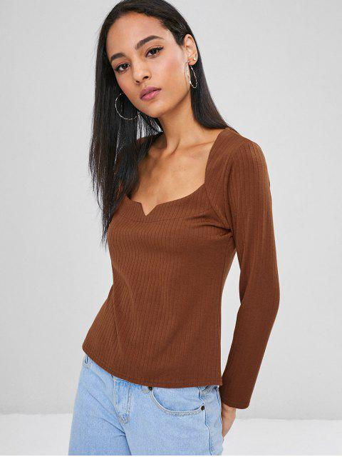 womens Sweetheart Ribbed Top - LIGHT BROWN M Mobile